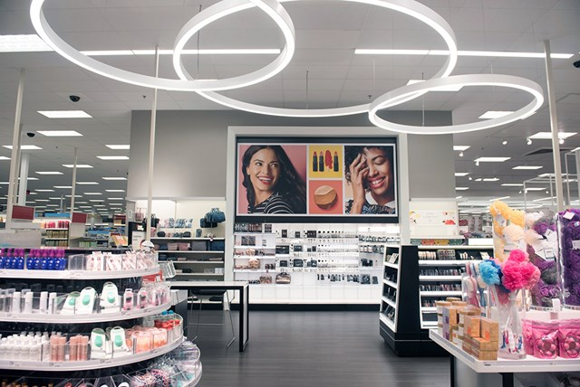 shelves of beauty products in a remodeled Target store