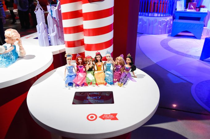 Disney Princess Dolls Lined up on a table