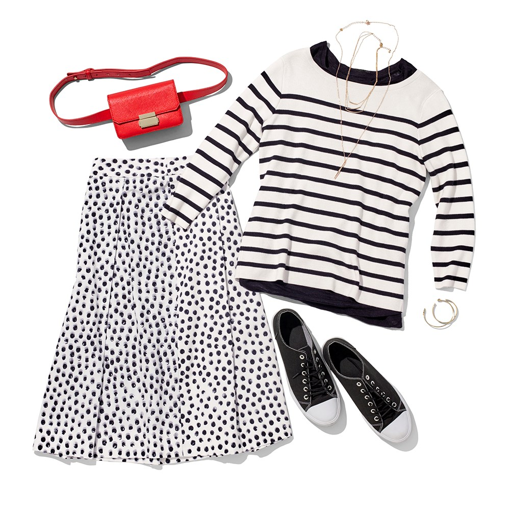 A crew, sweater, skirt, belt bag and accessories from the Who What Wear collection