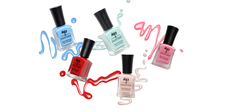 Five bottles of defy & INSPIRE nail color in assorted hues