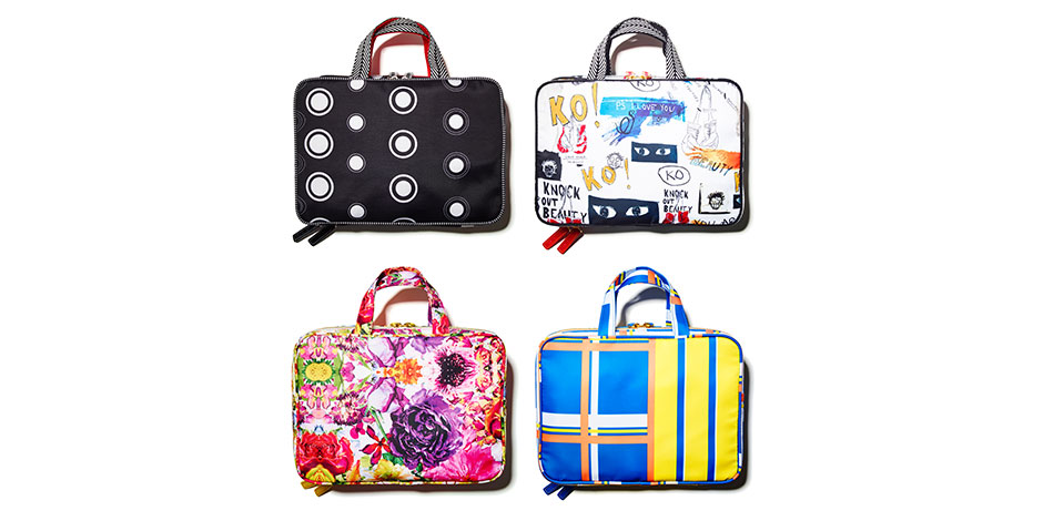 Four weekender cosmetics bags in various patterns and colors from the Knock Out Beauty collection