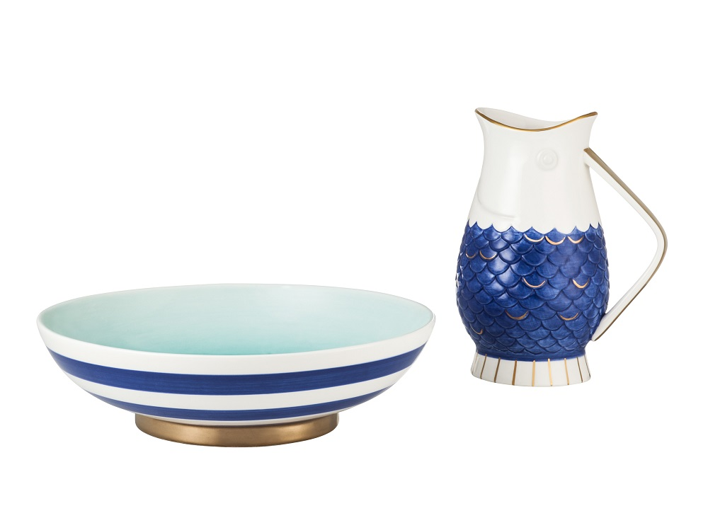 A blue and white striped serving bowl and pitcher from the Threshold spring-summer 2016 collection
