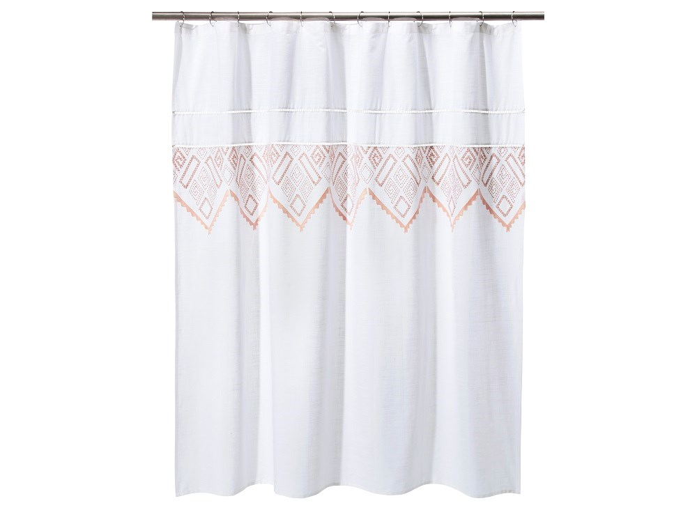 A White Shower Curtain With Red And Orange Embroidery Detail From The Nate Berkus For Target