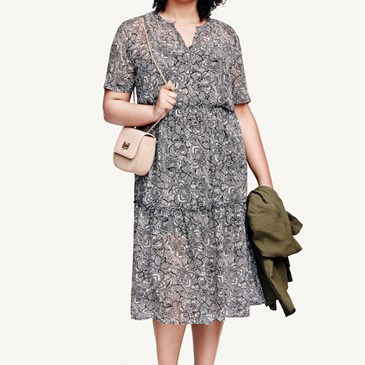 Model wearing floral pattered dress, nude heels and bag, and an olive jacket