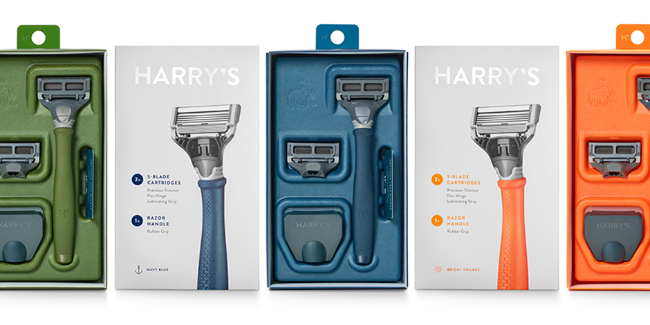 Green, blue and orange Harry's razors