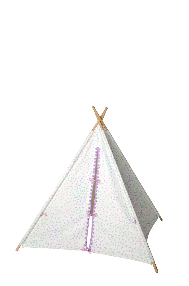 White With Pink Pom Pom Teepee