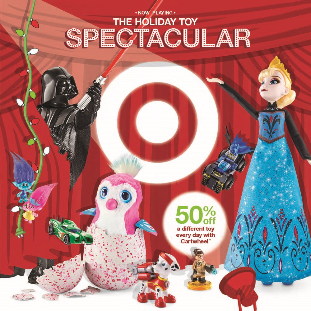 the cover of targets 2016 holiday toy catalog featuring top toys and characters