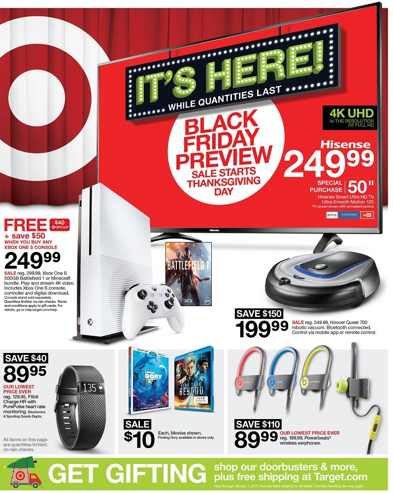 the cover of targets 2016 black friday sale ad