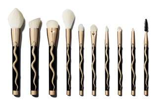 10 gold and black makeup brushes with a snake print from Sonia Kashuk's holiday 2016 collection