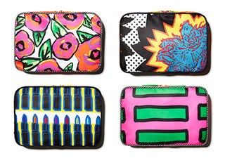 Four multicolored makeup bags