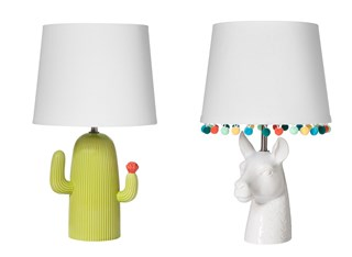 A green and white lamp with cactus-shaped base, and a white lamp with llama head shaped base