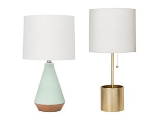 A mint green table lamp with white shade and a gold table lamp with white shade and chain