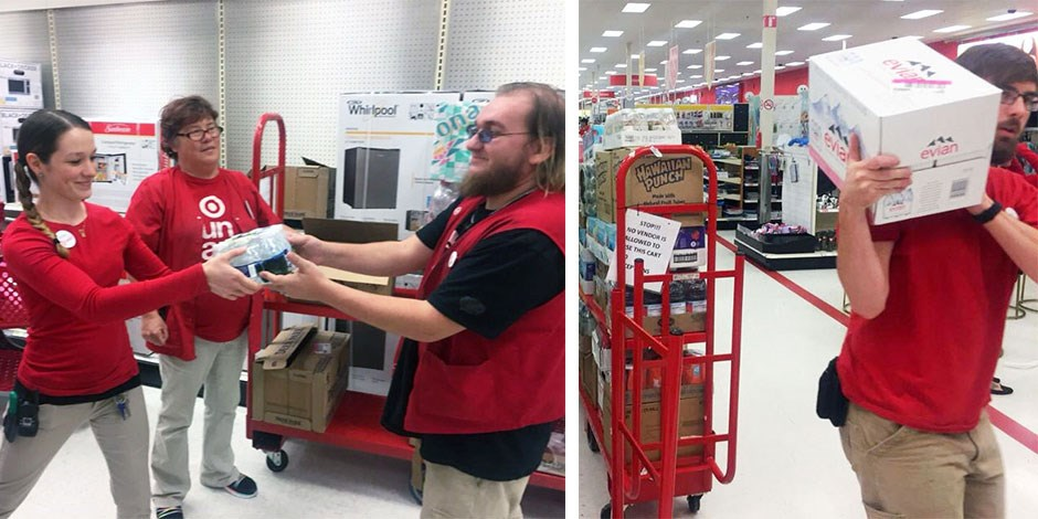 Target team members restock shelves with products
