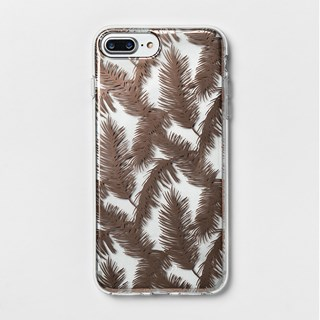 A clear phone case with brown feather print