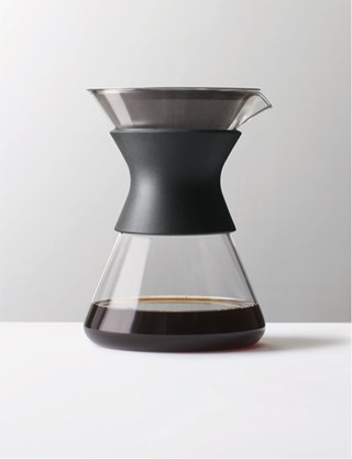 Glass and plastic pour-over coffee carafe