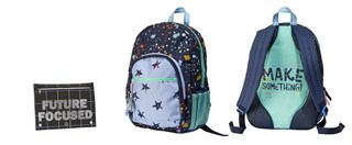two blue backpacks and black pencil case with stars