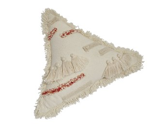 Cream triangle pillow with fringe