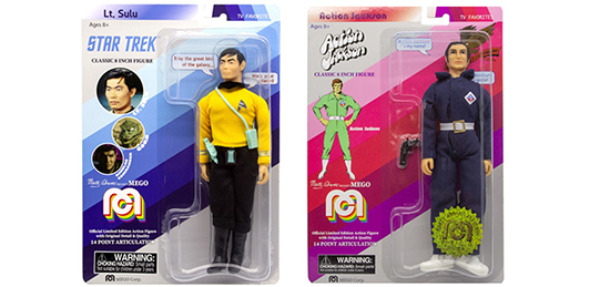 Packaged Lt. Sulu and Action Jackson figures