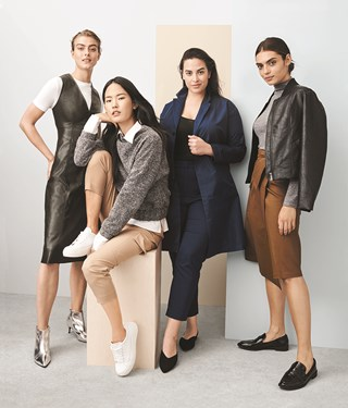 four women modeling clothes in gray, black and brown