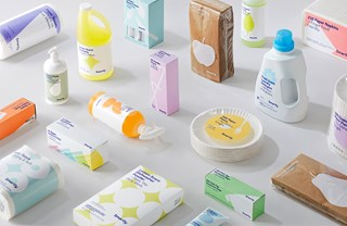 array of essential items in colorful packaging