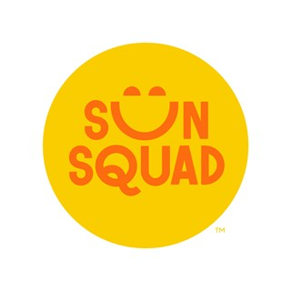 Yellow sun image with orange text reading Sun Squad