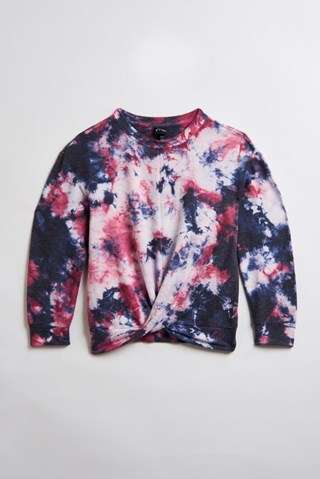 A blue and pink tie-dye sweatshirt