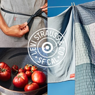 A collage of products (apron, tomatoes in a pan, quilts) with overlay of Levi's logo with a bullseye in the middle.
