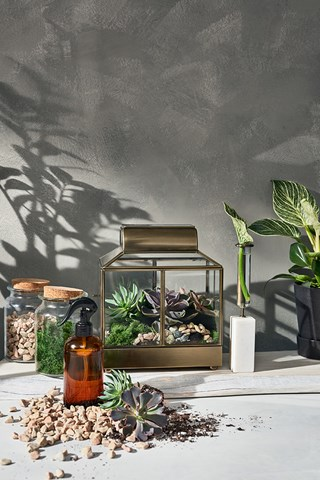 A group shot of accessories including jars, greenery displays and a spray bottle