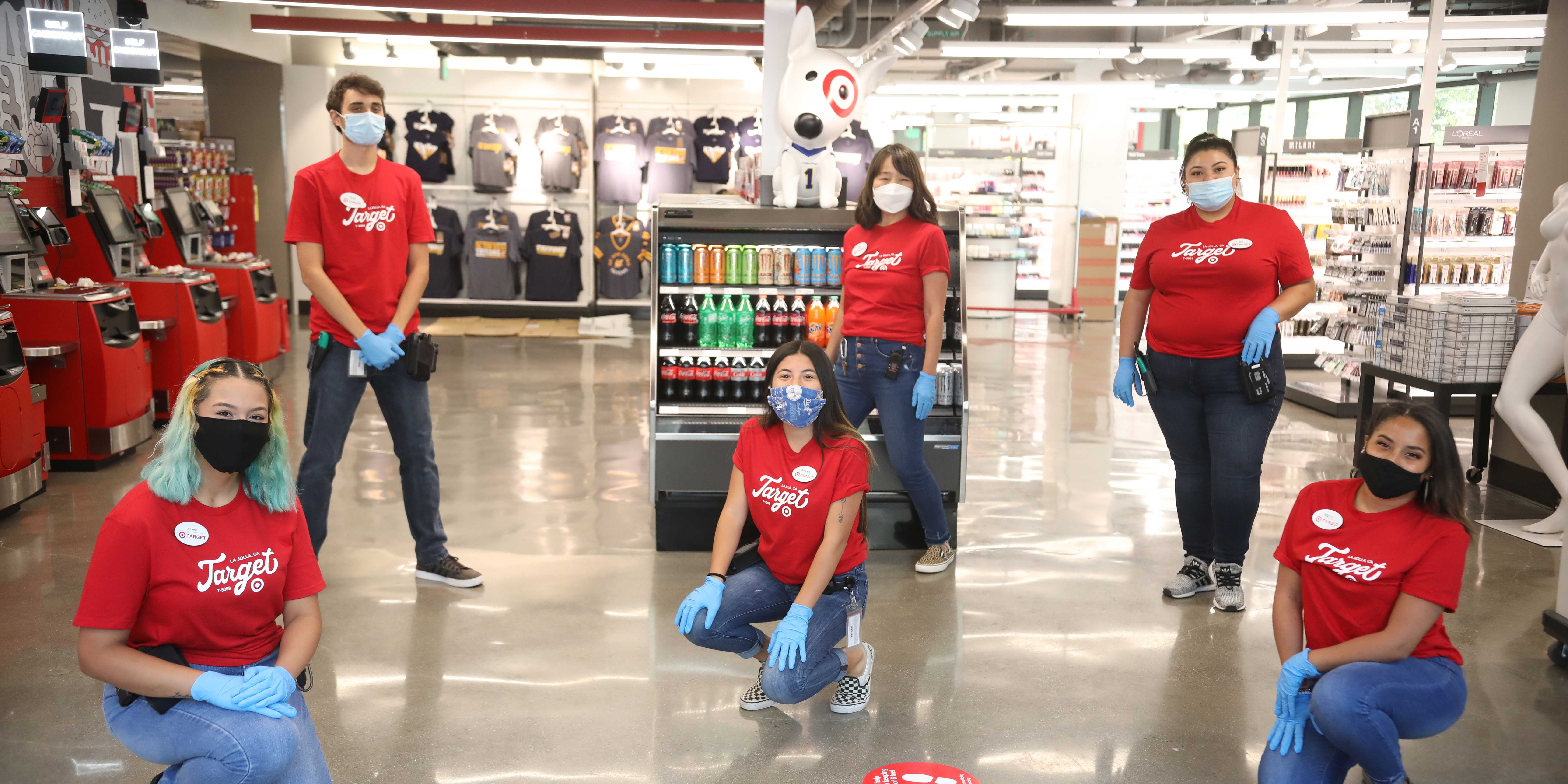 Target team members in store wearing masks
