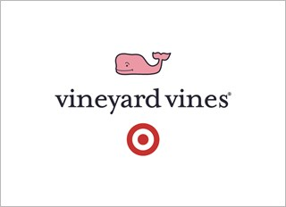 The logo shows a pink whale and Target's bullseye logo text vineyard vines against a white backgroun