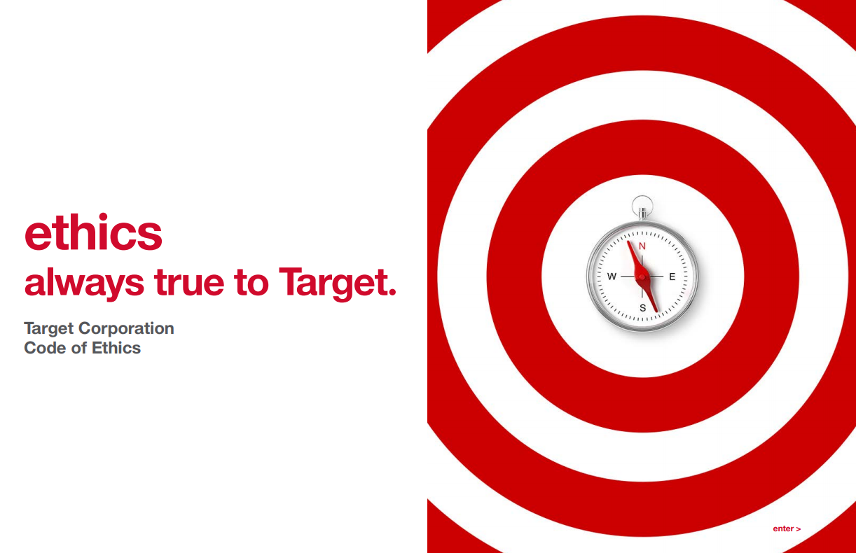 """ethics always true to Target. Target Corporation code of ethics"" with bullseye and compass"