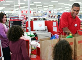 Target team member at check out