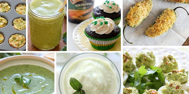 Collage of green foods made by Gina Homolka of Skinnytaste