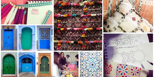 images of clothing sketches, colorful moroccan doors, colorful tapestries, women sketching, pillows