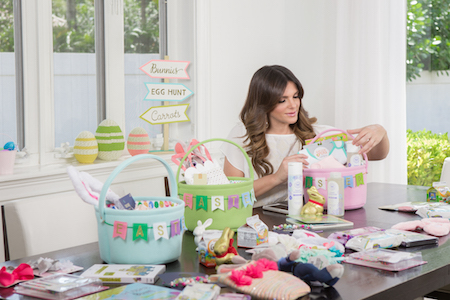 Barbara Bermudo working on three colorful Easter baskets for her daughters