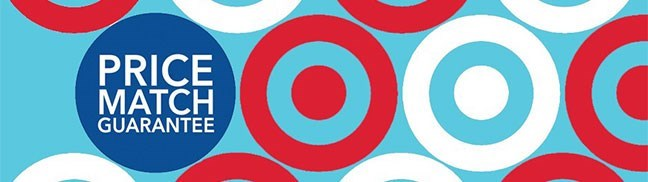 Price match blue circle against light blue background with red and white bullseye logos