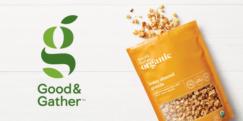 The Good and Gather logo with a bag of organic granola