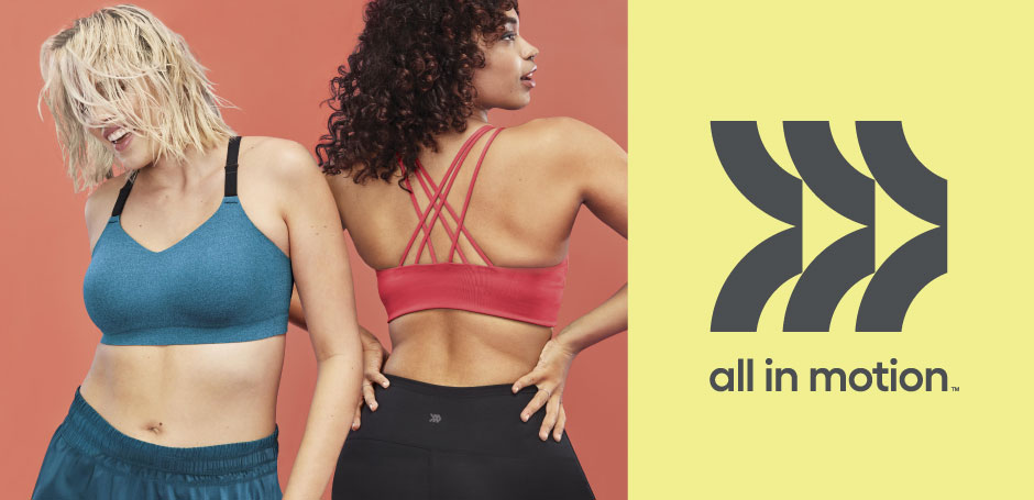 Two models wear All in Motion sports bras and bottoms alongside the All in Motion logo