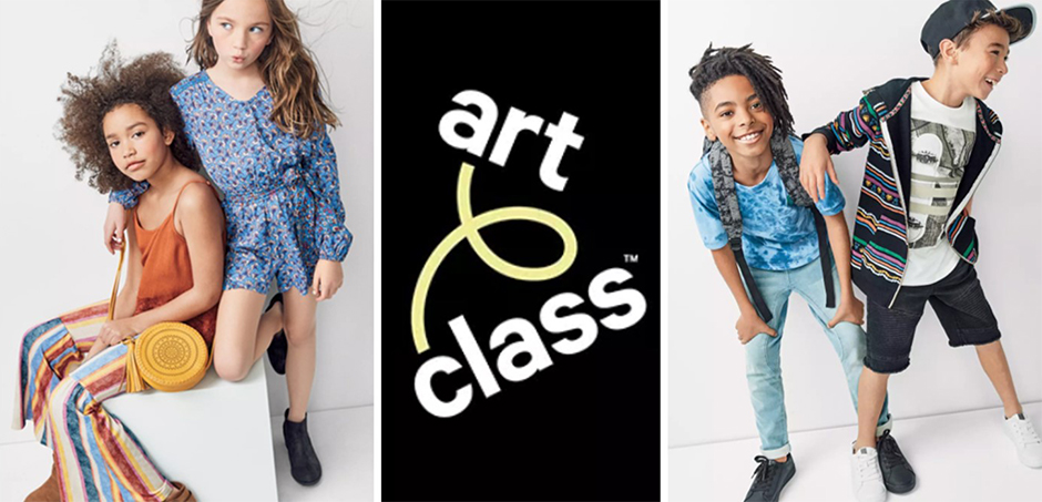 The Art Class logo between four kid models in apparel from the collection