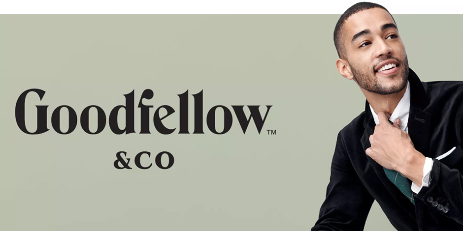 The Goodfellow & co logo and a model in a black velvet jacket