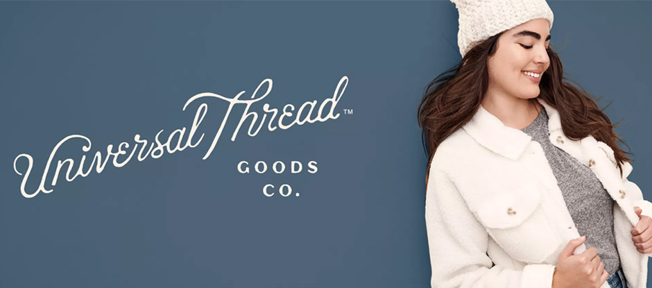The Universal Thread logo next to a model in a fleece jacket and beanie