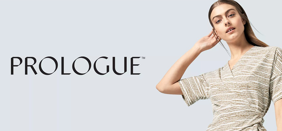 The Prologue logo next to a Model in a textured cream top
