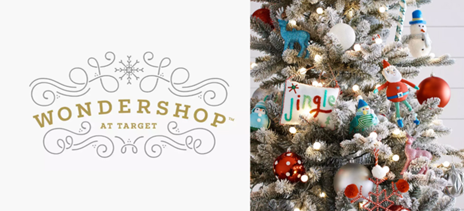The Wondershop logo next to a closeup of a decorated tree filled with ornaments
