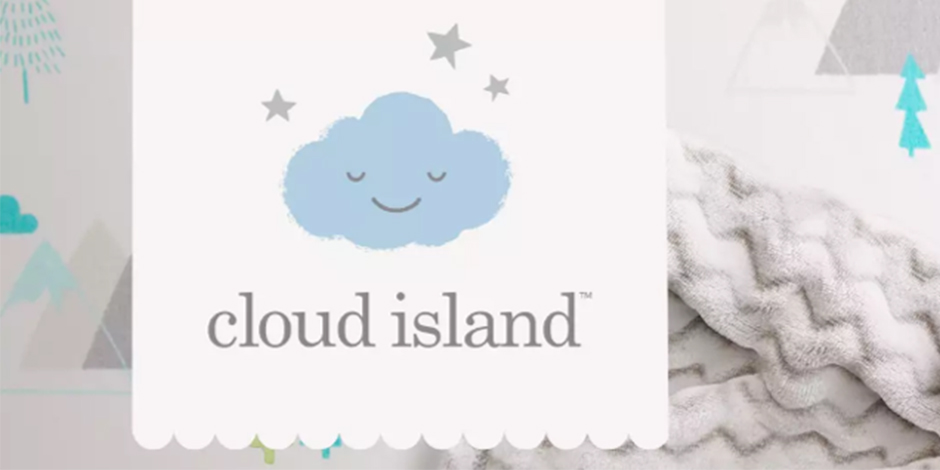 The Cloud Island logo against cuddly gray, aqua and green sheets and blankets