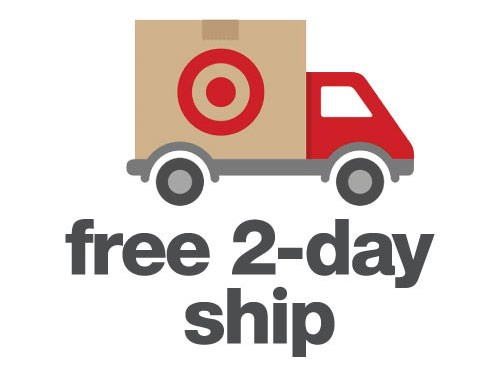 "truck with brown box on back, red bullseye logo, and gray text ""free 2-day ship"""