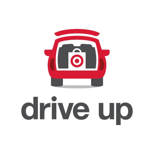"icon with red car, target bag in back, and ""drive up"" in gray text"
