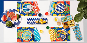 Aerial view styled shot of the Marimekko for Target entertaining sets laid out on a table.