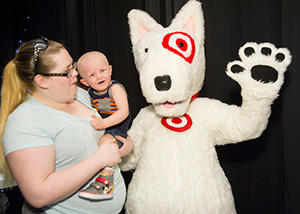 Bullseye Dog with St. Jude child and mother