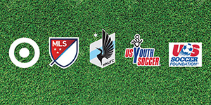 The Target, MLS, MNUFC, US Youth Soccer and US Soccer Foundation logos on a green turf background