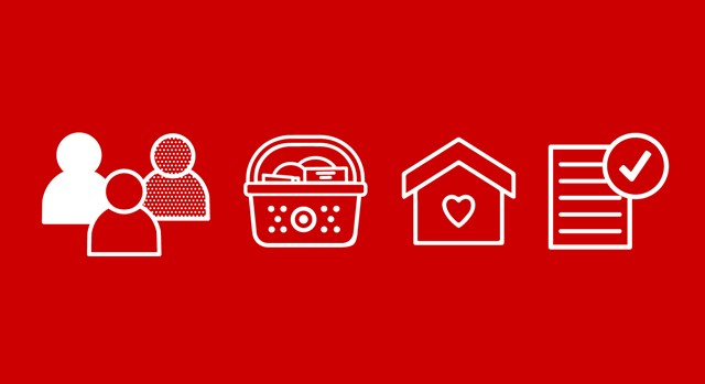 white graphics of guests, shopping basket, house and paper against a red background